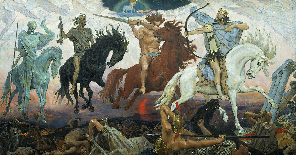 Four Horsemen of the Apocalypse - Death, Famine, War & Conquest, an 1887 painting by Viktor Vasnetsov. Source: Public Domain per https://en.wikipedia.org/wiki/Four_Horsemen_of_the_Apocalypse#/media/File:Apocalypse_vasnetsov.jpg