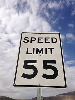Source: Famartin from https://commons.wikimedia.org/wiki/File:2014-09-08_09_52_29_A_55_miles_per_hour_speed_limit_sign_along_southbound_Nevada_State_Route_305_(Austin-Battle_Mountain_Road)_about_87.0_miles_north_of_U.S._Route_50_in_Battle_Mountain,_Nevada.JPG