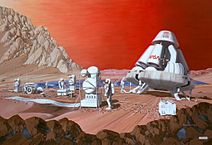 Artist rendition of human mission to Mars.